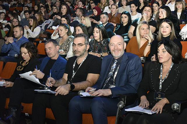 """Fest 58, Nata parë, Juria \""""Rita Petro, Mikaela Minga, Christer Bjorkman, Dimitris Kontopoulos, Felix Bergsson\"""""""